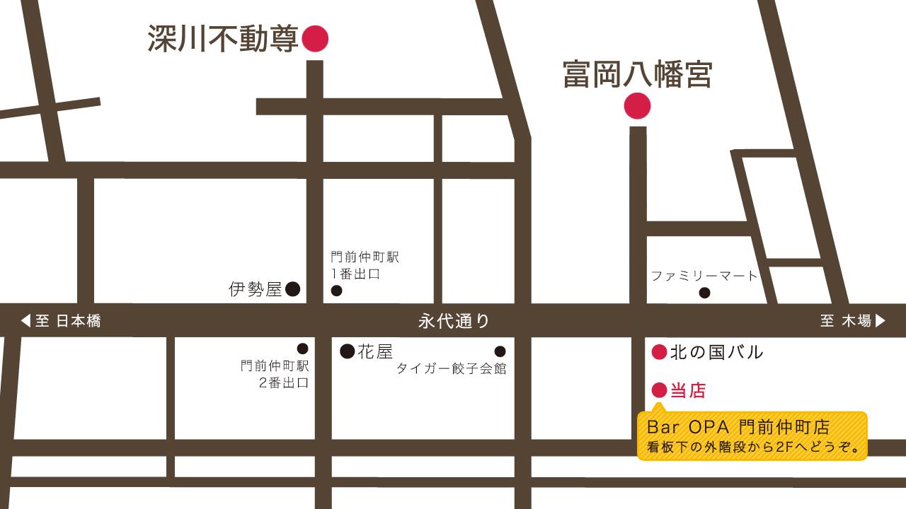 Bar OPA 門前仲町店:MAP